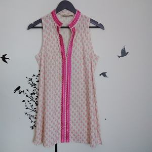 Rock flower paper print patterned pink tunic top
